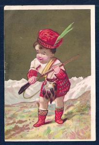 VICTORIAN TRADE CARD Scottish Boy w/Rifle