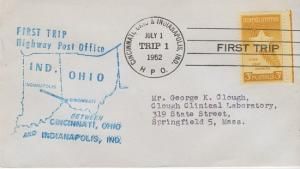 FIRST TRIP HIGHWAY POST OFFICE mail between Cincinnati, OH & Indianapolis, IN