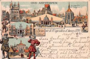 Antwerp 1894 Exposition, Belgium,  Postcard, Used in 1901 to Marshalltown, Iowa