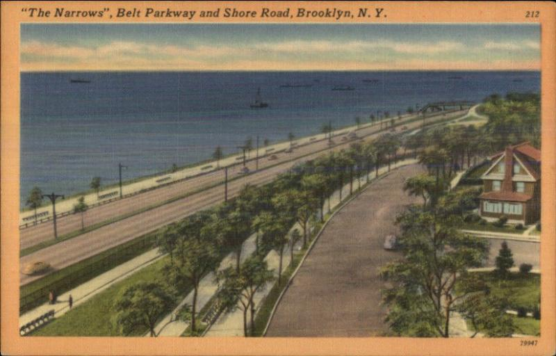 Brooklyn NY Belt Parkway The Narrows Linen Postcard