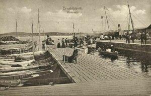 sweden, ÖRNSKILDSVIK, Hamnen, Harbor Scene (1918) Postcard