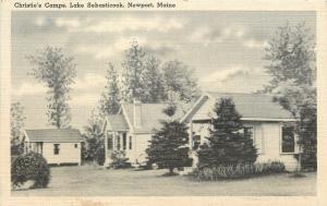 Newport Maine~Lake Sebasticook~Christies Camps~Cabins~c1930 B&W Postcard