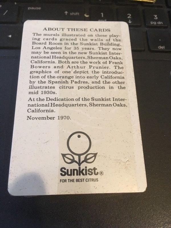 1970 Congress Double Deck Playing Cards, Sunkist - Murals California Missions