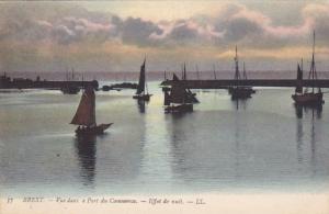 Sailboats, Vue Dans E Port Du Commerce, Effet De Nuit, Brest (Finistere), Fra...