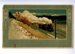 188114 TRAIN Railway ART NOUVEAU Landscape Vintage EMBOSSED PC