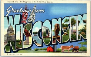 WISCONSIN Large Letter Linen Postcard HAYWARD Playground of Indian Head Country