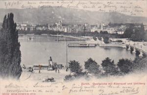 Switzerland Zurich Quaibruecke mit Alpenquai und Uetleberg 1903