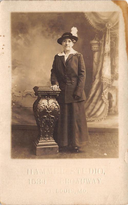 St Louis MO~Hammer Studio Portrait~Older Lady~Feather Hat~S Broadway~c1912 RPPC