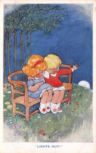 H Cowham~Lights Out~Children on Bench Wave Good-bye to Moon~Inter-Art Co~c1914
