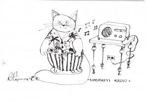 Cincinnati Radio, 1978 Hupman Illustration, Cat Humour, TV Show