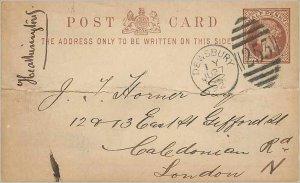Entier Postal Stationery Postal Britain Great Britain 1 / 2p Dewsbury for London