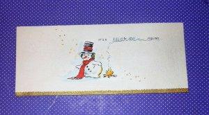 Vintage Snowman Warming By Fire Scarf Hat Metallic Gold Trim #215 Christmas Card