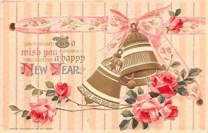 To Wish You a Happy New Year Floral & Bells Writing on Back
