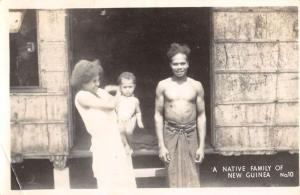 New Guinea Native Family With Baby Real Photo Antique Postcard K86919
