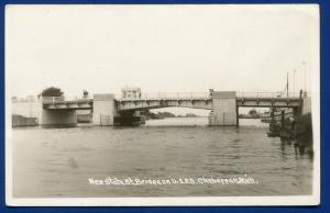 Cheboygan Michigan mi New State street Bridge view real photo postcard RPPC