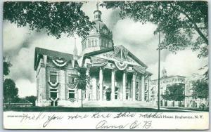 Binghamton New York Postcard BROOME COUNTY COURT HOUSE Building View 1906 Cancel