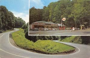 Tunnelton-Rowlesburg WV Cool Springs Park ESSO & Shops~Hairpin Turn c1963
