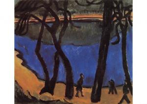Erich Heckel Spazierganger, Strollers on the Lake of Grunewald Postcard