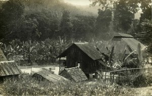 british North Borneo, JESSELTON, Native Houses (1933) RPPC Postcard