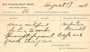 Sac City Iowa~Sac County State Bank Postal Receipt~ RPPC 1895 Crosy Garnavillo