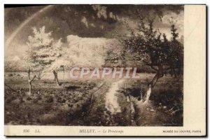Old Postcard Spring Millet Musee Du Louvre Paris