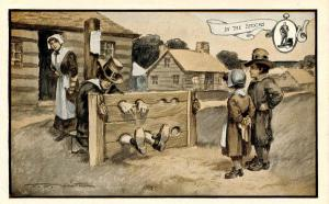 MA - Plymouth. In the Stocks *Artist: F.V. Smith. Advertising for Hospitality...