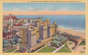 New Jersey Atlantic City Airplane View Showing Hotels And Steel Pier