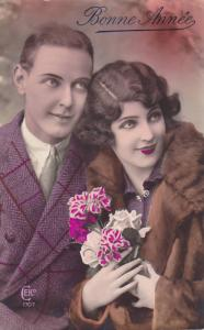 RP; Hand-tinted, Bonne Annee, Portrait of attrctive couple, 00-10s