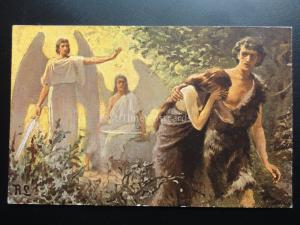 Religious: ADAM & EVE CAST OUT OF GARDEN Holy Scripture, Old PC by Misch & Co