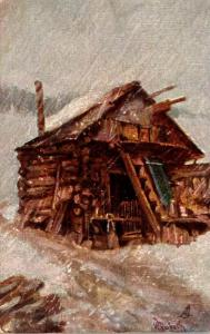 Tucks Winter Scene With Log Cabin