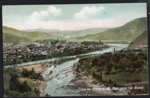 Oregon City of ROSEBURG from the River Panoramic View - Divided Back