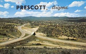 Prescott Arizona~Merging Highways 89-69~Route 66~1960s Postcard