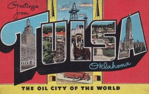 LARGE LETTER, TULSA, Oklahoma, The Oil City Of The World, 1930-1940's