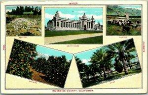 Riverside County, California Postcard Multi-View Court House / Oranges / Dates
