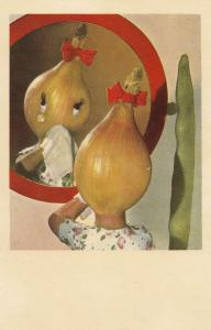 Onion Woman Crying In Pea Pod Mirror Eyelashes Tears Vegetable Postcard