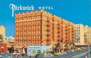 San Diego California~Pickwick Hotel~Greyhound Bus Depot~1950s Cars~Postcard
