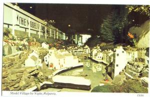UK, Model Village by night, Polperro, unused Postcard