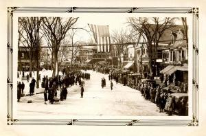 NH - Whitefield. Winter Carnival. Main Street & King Square, Winter 1933    *...