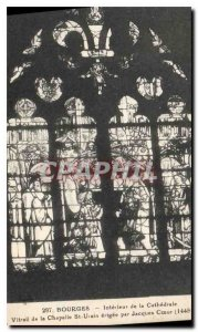 Old Postcard Bourges Interior of the Cathedral Stained Glass Chapel St Ursin ...