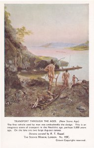 Transport Through The Ages New Stone Age Prehistoric Postcard
