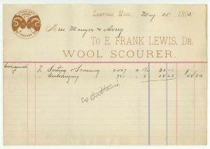 1893 Billhead, E. FRANK LEWIS, Dr., Wool Scourer, Lawrence, Massachusetts