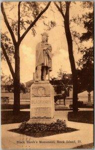 Rock Island, Illinois Postcard Black Hawk's Monument Statue View 1910 Cancel