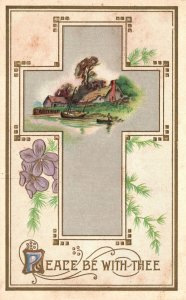 ?Vintage Postcard Cross Peace Be With Thee Field Lake Houses Rural Scene