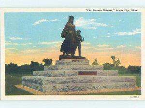 Linen PIONEER WOMAN MONUMENT Ponca City Oklahoma OK AE7618-13