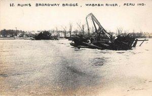 LP62 Peru Indiana Postcard RP Bridge Ruins 1913 Flood Inbody Photo