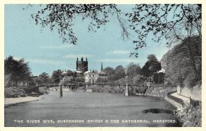 Hereford, The River Wye, Suspension Bridge & The Cathedral
