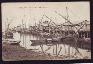 P1662 old unused postcard spanish huelva - dique de la pescaderia boats  & dock