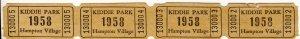 1958 Hampton Village Kiddie Park Tickets, St Louis, Missouri/MO