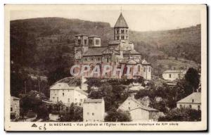 Postcard Old St Nectaire General view and church