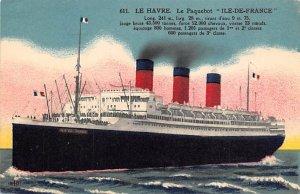 Ile de France French Line Ship Stamp on back
